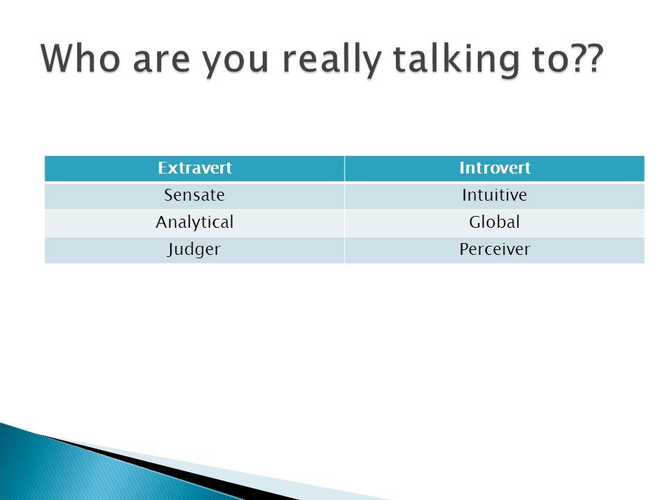 ExtravertIntrovert SensateIntuitive AnalyticalGlobal JudgerPerceiver
