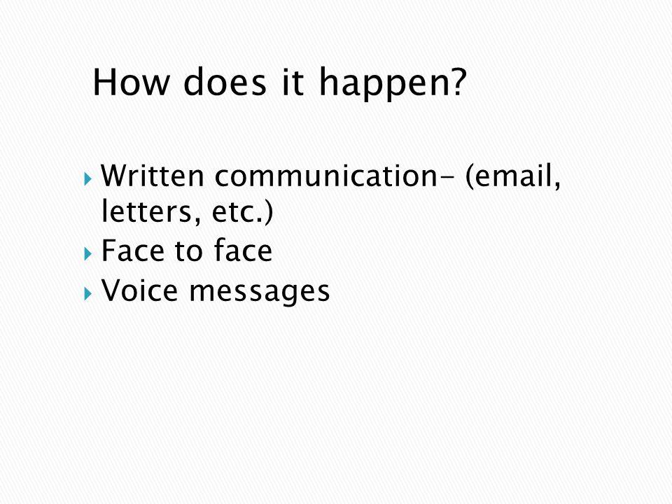 How does it happen?  Written communication- (email, letters, etc.)  Face to face  Voice messages