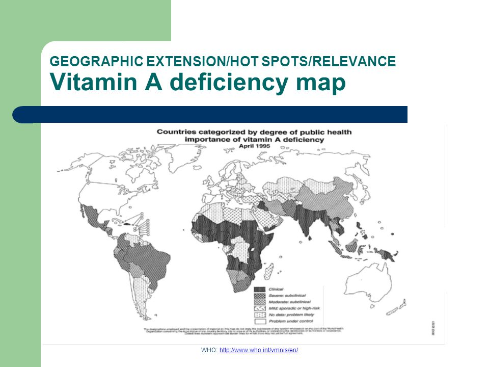 GEOGRAPHIC EXTENSION/HOT SPOTS/RELEVANCE Iodine deficiency map
