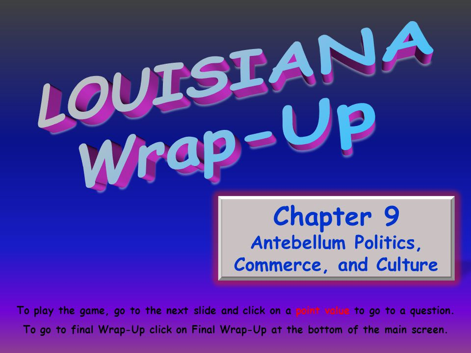 Chapter 9 Antebellum Politics, Commerce, and Culture To play the game, go to the next slide and click on a point value to go to a question. To go to f