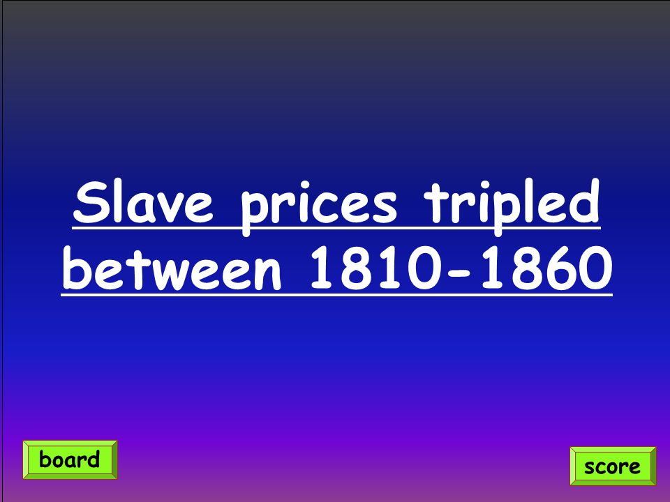 Slave prices tripled between 1810-1860 score board