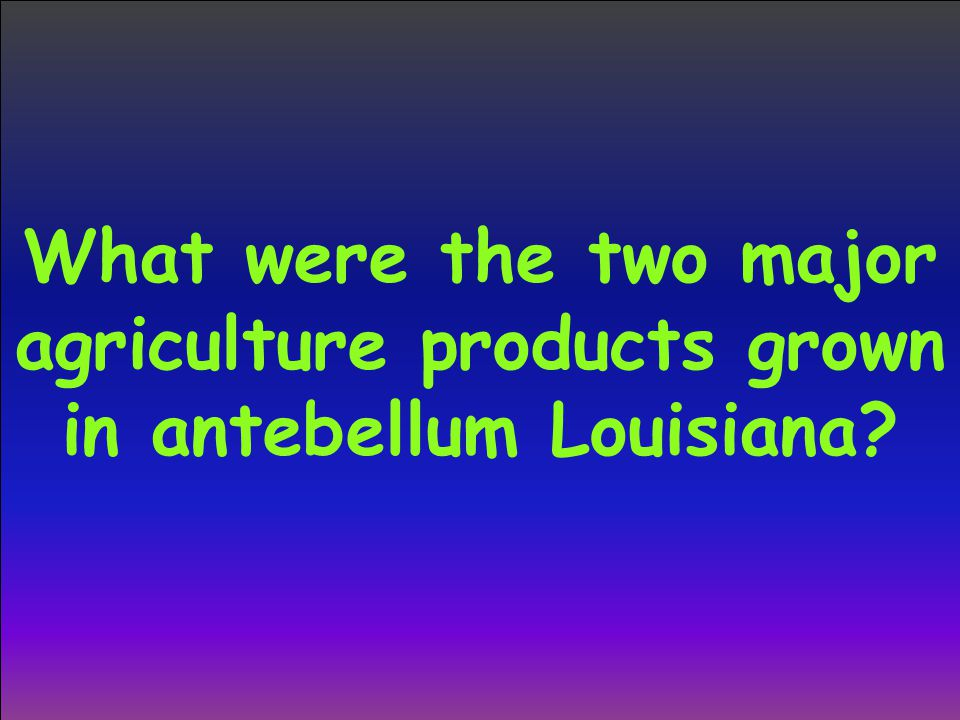 What were the two major agriculture products grown in antebellum Louisiana?