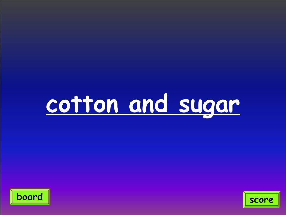 cotton and sugar score board