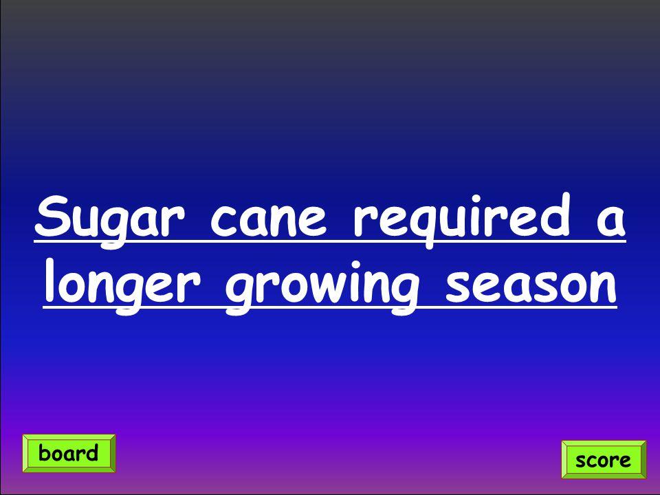 Sugar cane required a longer growing season score board