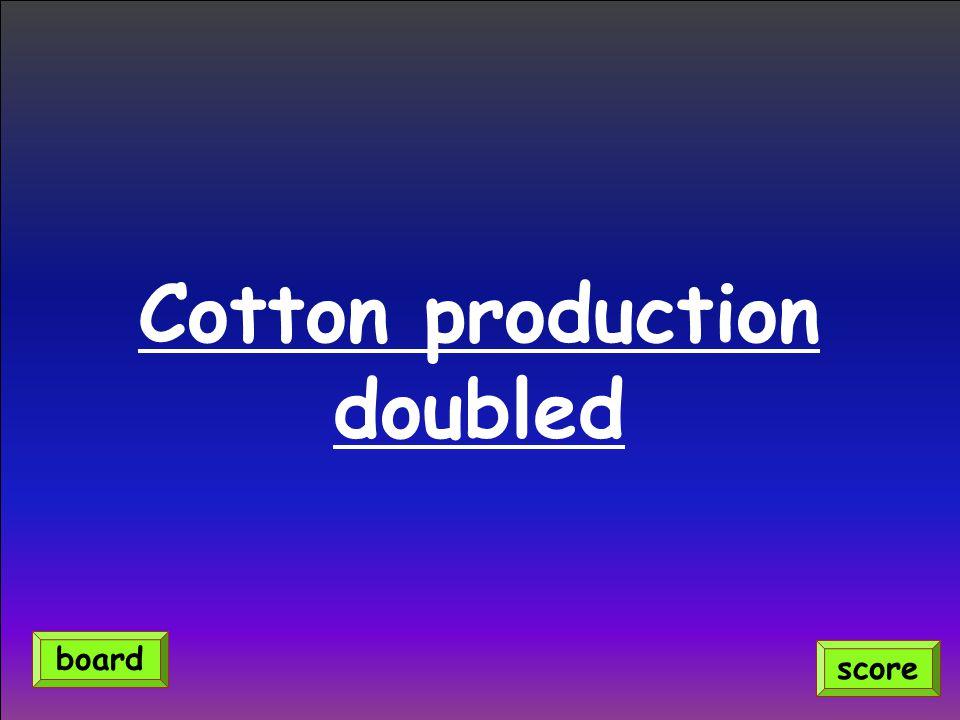 Cotton production doubled score board