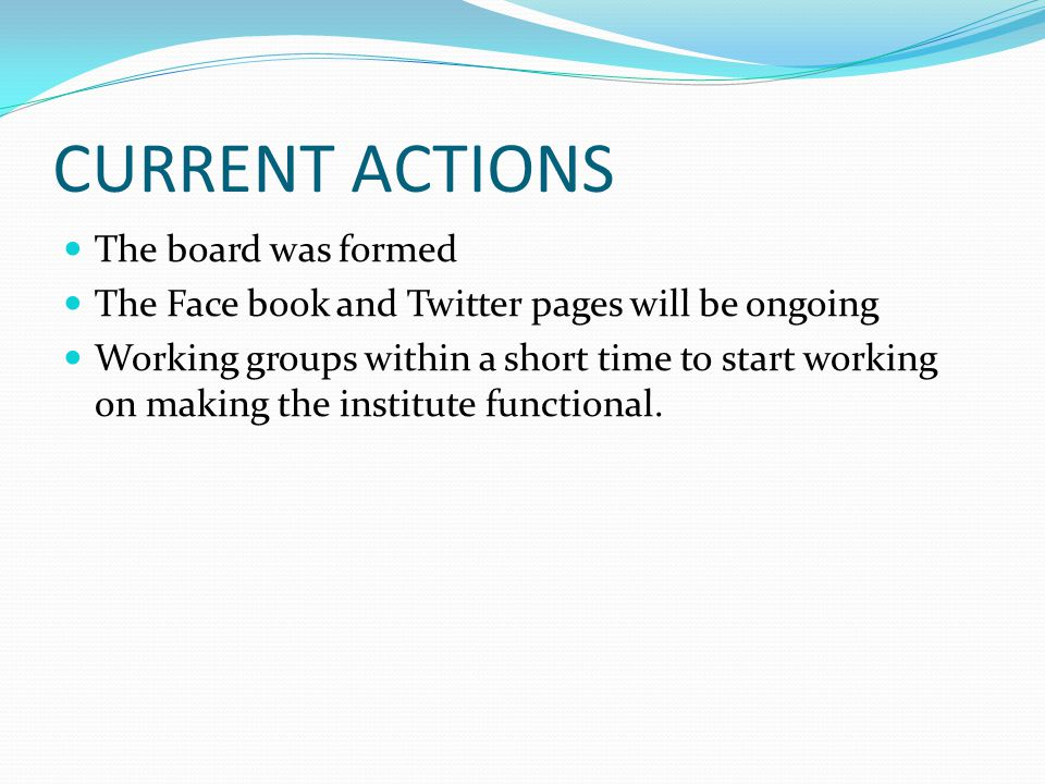 CURRENT ACTIONS The board was formed The Face book and Twitter pages will be ongoing Working groups within a short time to start working on making the institute functional.