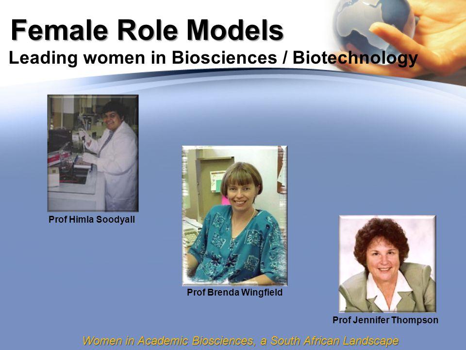 Women in Academic Biosciences, a South African Landscape Female Role Models Leading women in Biosciences / Biotechnology Prof Himla Soodyall Prof Brenda Wingfield Prof Jennifer Thompson