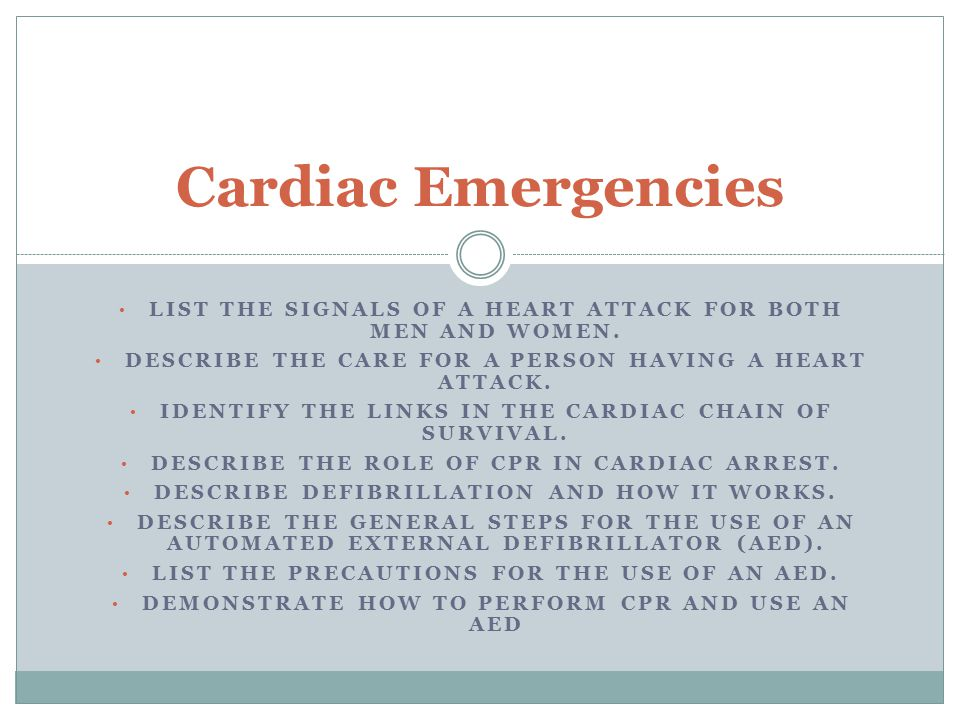 LIST THE SIGNALS OF A HEART ATTACK FOR BOTH MEN AND WOMEN. DESCRIBE THE CARE FOR A PERSON HAVING A HEART ATTACK. IDENTIFY THE LINKS IN THE CARDIAC CHA