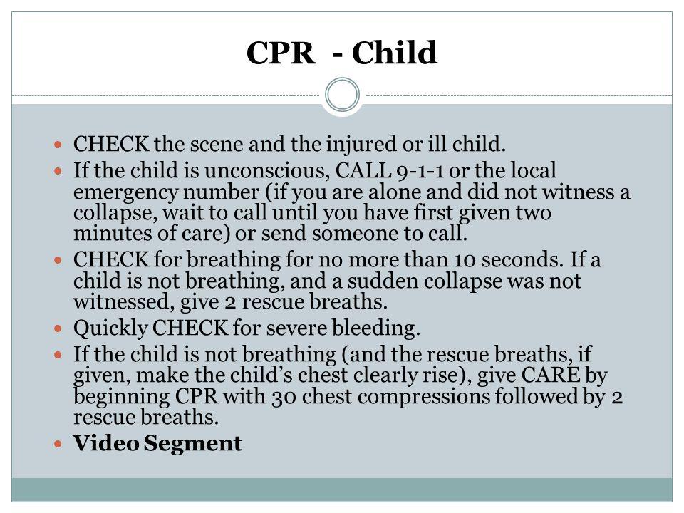 CPR - Infant Unlike adults, infants seldom initially suffer a cardiac emergency.