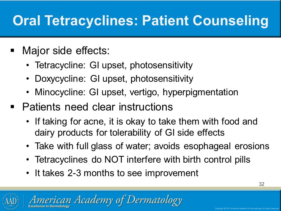 Oral Tetracyclines: Patient Counseling  Major side effects: Tetracycline: GI upset, photosensitivity Doxycycline: GI upset, photosensitivity Minocycl
