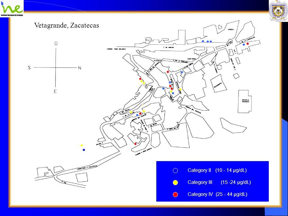 Vetagrande, Zacatecas Category II (10 - 14 μg/dL) Category III (15 -24 μg/dL) Category IV (25 - 44 μg/dL) Kinder Museo Comunitario Presidencia