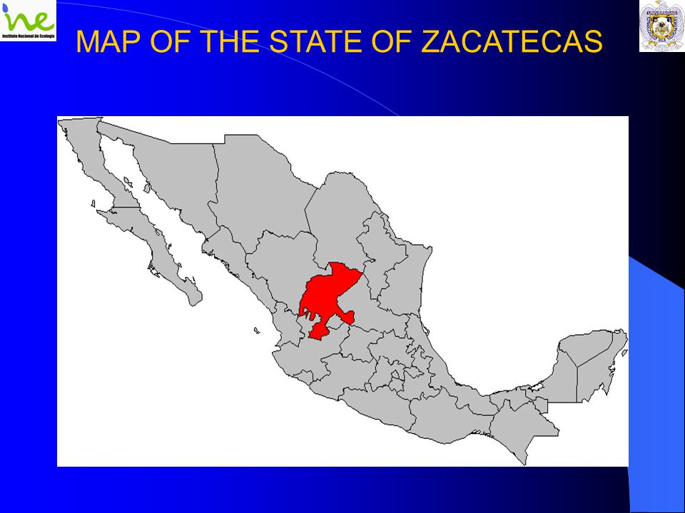 MAP OF THE STATE OF ZACATECAS