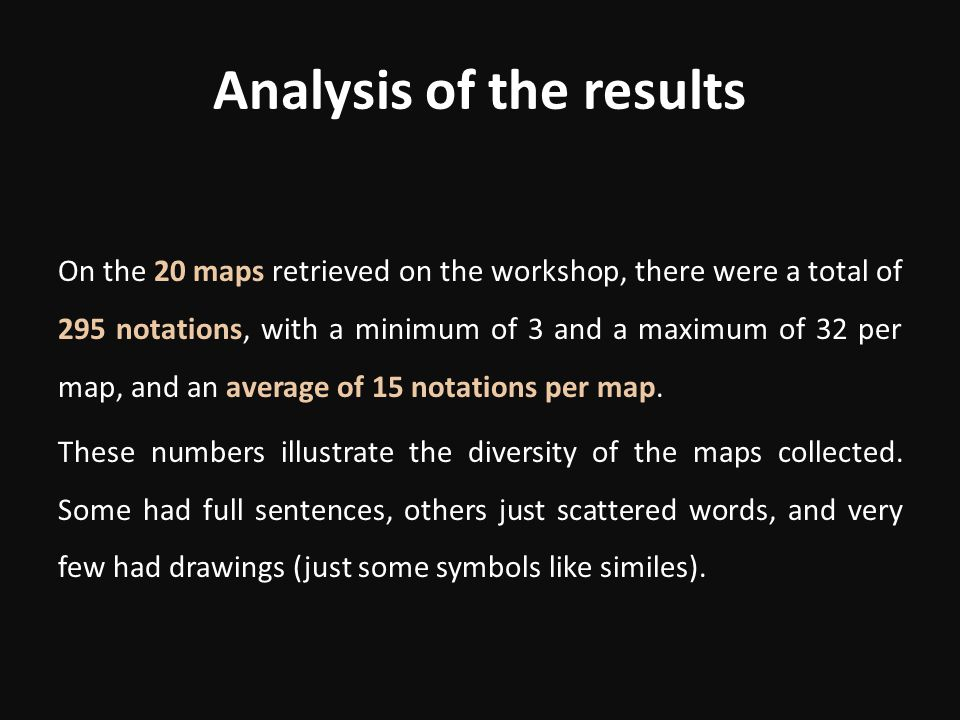 Analysis of the results On the 20 maps retrieved on the workshop, there were a total of 295 notations, with a minimum of 3 and a maximum of 32 per map, and an average of 15 notations per map.