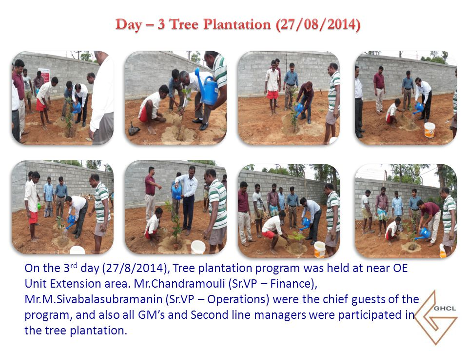 On the 3 rd day (27/8/2014), Tree plantation program was held at near OE Unit Extension area. Mr.Chandramouli (Sr.VP – Finance), Mr.M.Sivabalasubraman