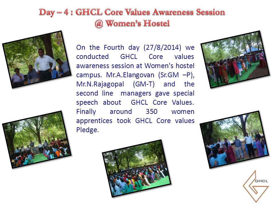 On the Fifth day (27/8/2014) we conducted GHCL Core values awareness session at Vaigai Hall.