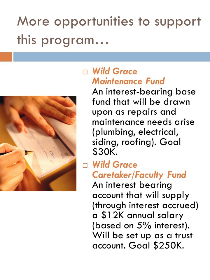 More opportunities to support this program…  Wild Grace Maintenance Fund An interest-bearing base fund that will be drawn upon as repairs and maintenance needs arise (plumbing, electrical, siding, roofing).
