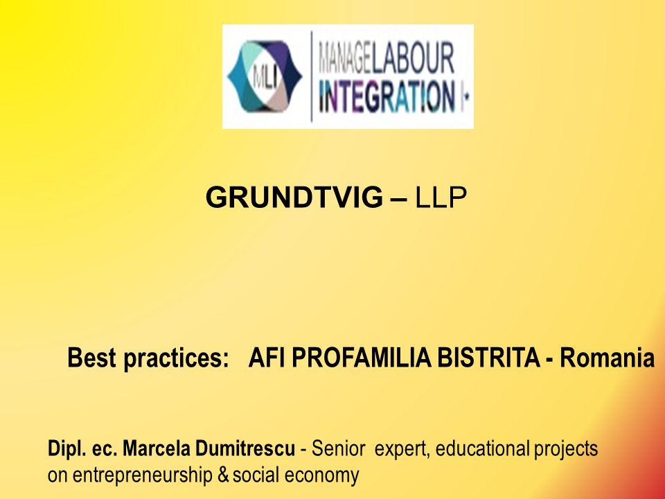 GRUNDTVIG – LLP Best practices: AFI PROFAMILIA BISTRITA - Romania Dipl. ec. Marcela Dumitrescu - Senior expert, educational projects on entrepreneursh