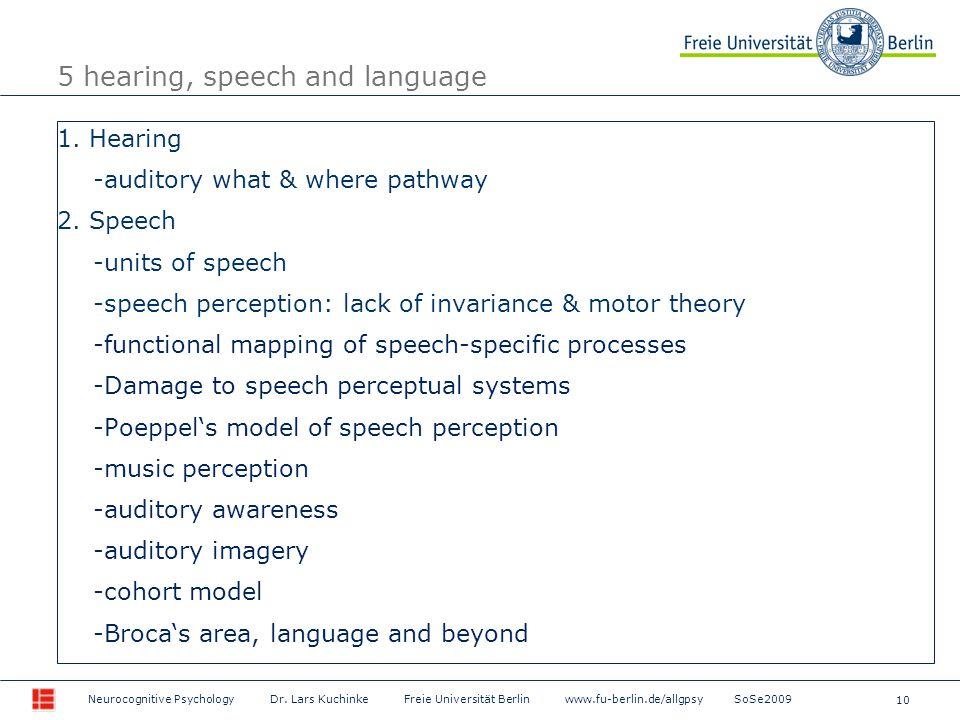 10 Neurocognitive Psychology Dr. Lars Kuchinke Freie Universität Berlin www.fu-berlin.de/allgpsy SoSe2009 5 hearing, speech and language 1. Hearing -a