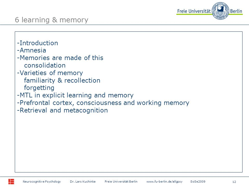 12 Neurocognitive Psychology Dr.