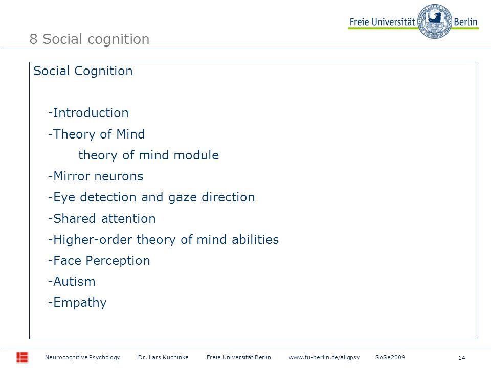 14 Neurocognitive Psychology Dr. Lars Kuchinke Freie Universität Berlin www.fu-berlin.de/allgpsy SoSe2009 Social Cognition -Introduction -Theory of Mi