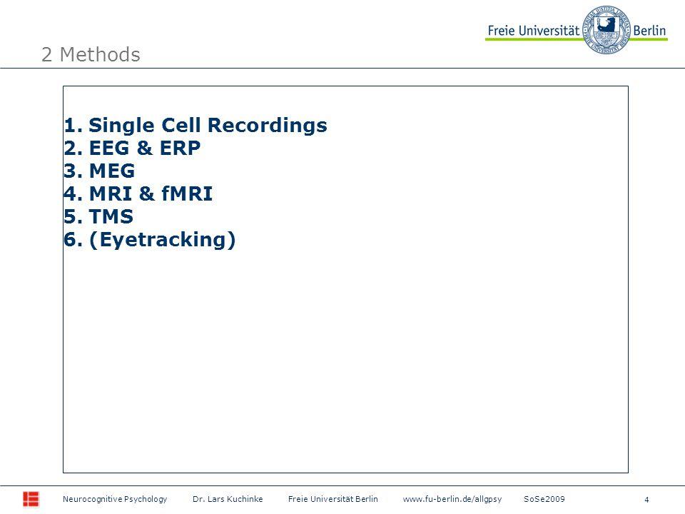 4 Neurocognitive Psychology Dr. Lars Kuchinke Freie Universität Berlin www.fu-berlin.de/allgpsy SoSe2009 2 Methods 1.Single Cell Recordings 2.EEG & ER