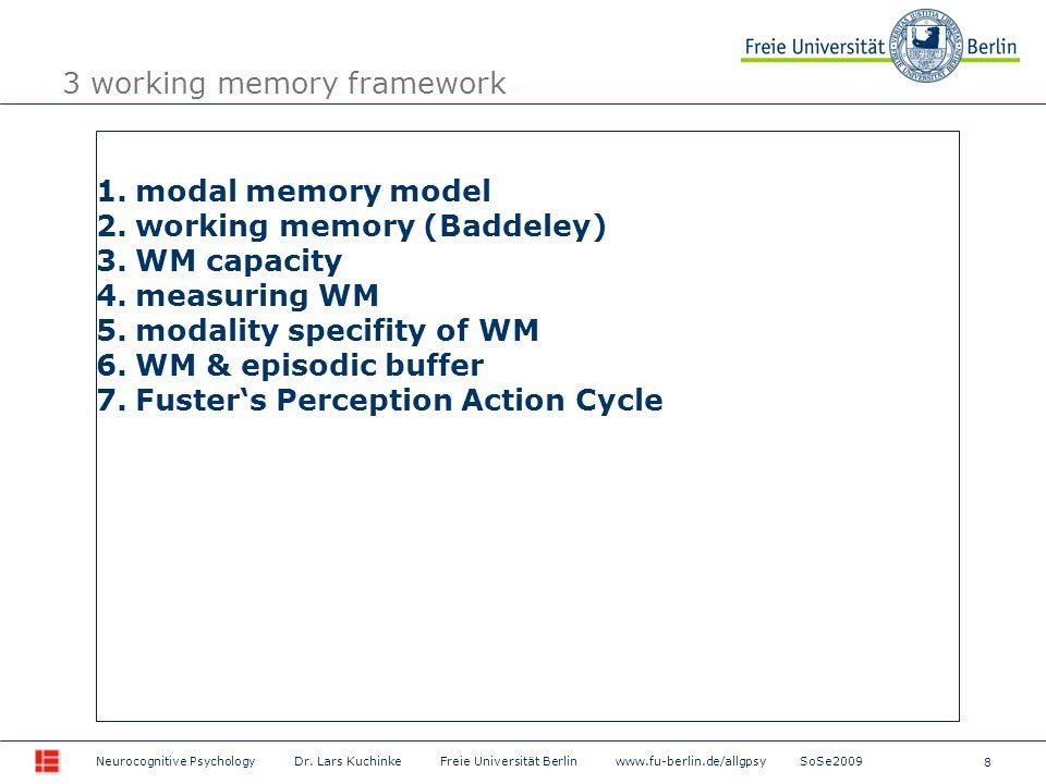 8 Neurocognitive Psychology Dr. Lars Kuchinke Freie Universität Berlin www.fu-berlin.de/allgpsy SoSe2009 3 working memory framework 1.modal memory mod
