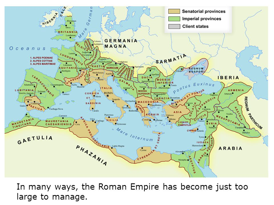In many ways, the Roman Empire has become just too large to manage.