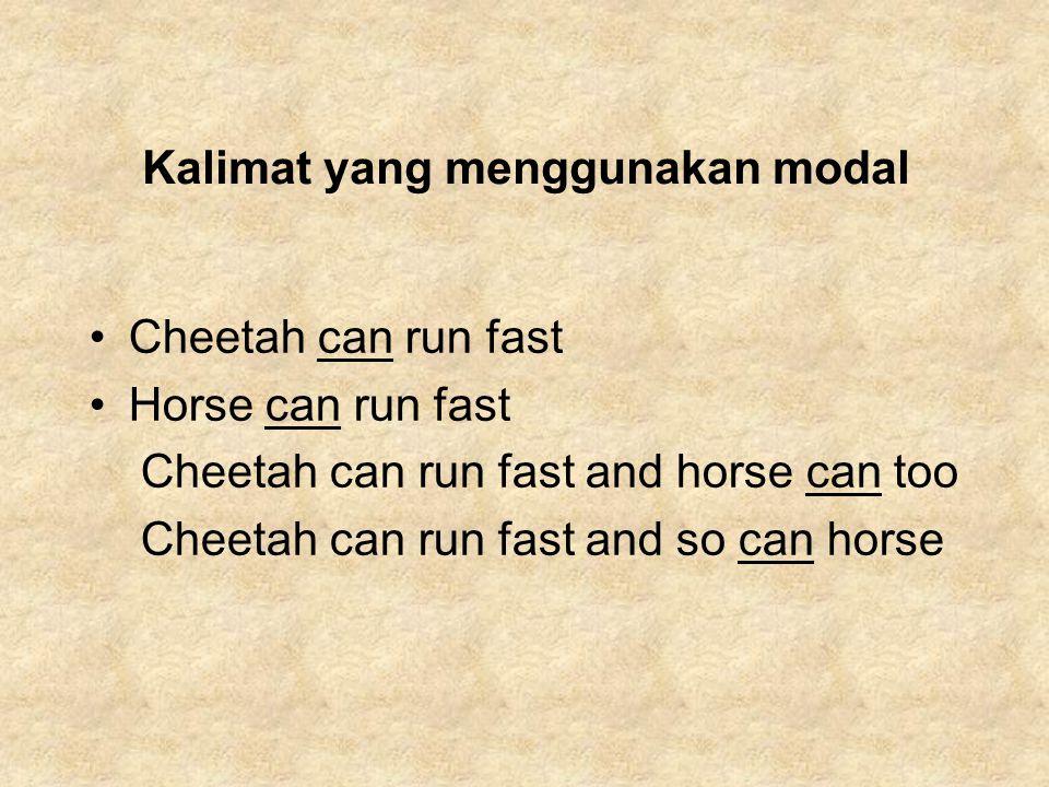 Kalimat yang menggunakan modal Cheetah can run fast Horse can run fast Cheetah can run fast and horse can too Cheetah can run fast and so can horse