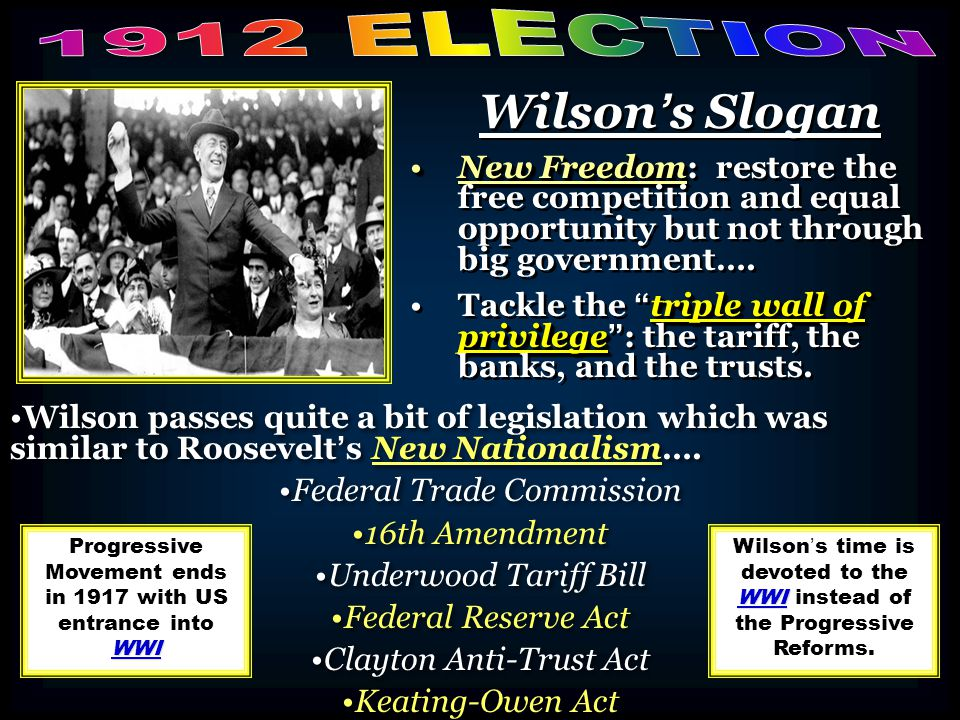 Wilson's Slogan New FreedomNew Freedom: restore the free competition and equal opportunity but not through big government…. triple wall of privilegeTa