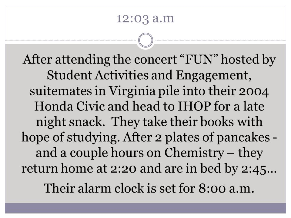 12:03 a.m After attending the concert FUN hosted by Student Activities and Engagement, suitemates in Virginia pile into their 2004 Honda Civic and head to IHOP for a late night snack.