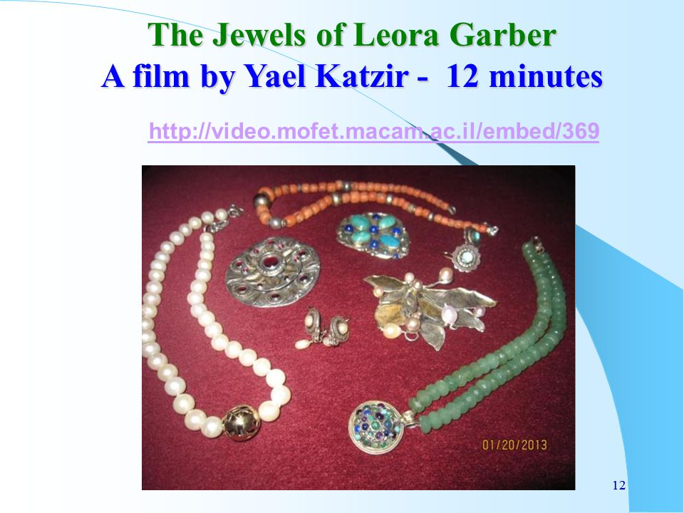 12 The Jewels of Leora Garber A film by Yael Katzir - 12 minutes 12 http://video.mofet.macam.ac.il/embed/369