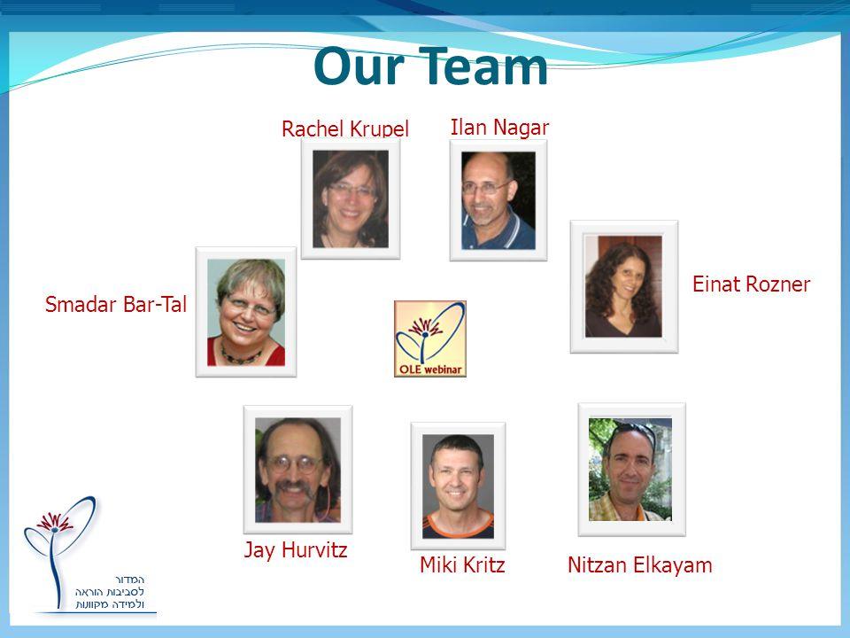 Our Team Smadar Bar-Tal Einat Rozner Miki Kritz Rachel Krupel Jay Hurvitz Ilan Nagar Nitzan Elkayam