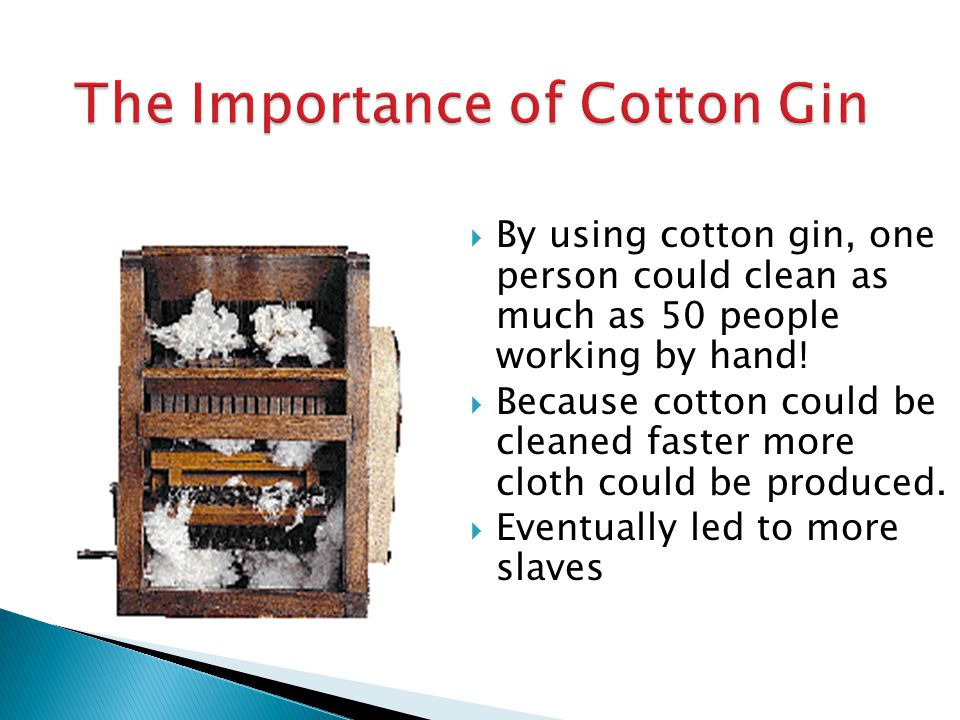 I. The Growth of Industry (pages 383–385)  Eli Whitney invented cotton gin, simple machine that quickly & efficiently removed seeds from cotton fiber