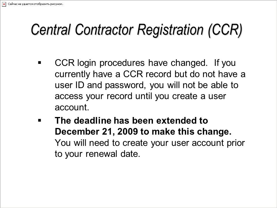 American Recovery and Reinvestment Act of 2009 (ARRA) Stimulus Bill (continued) Other Tips  Consider being a GSA Schedule Holder  Tune-up your CCR Profile  Look at the CCR profiles of other firms in your own industry to see if your CCR Profile is competitive  Self-certify (or apply for certification, if applicable) in as many socio-economic categories as you can  Remember that subcontracting plans have a separate goal for Veterans, not only Service-Disabled Veterans  Make yourself stand out – a better CCR Profile, GSA Schedule Holder, etc.