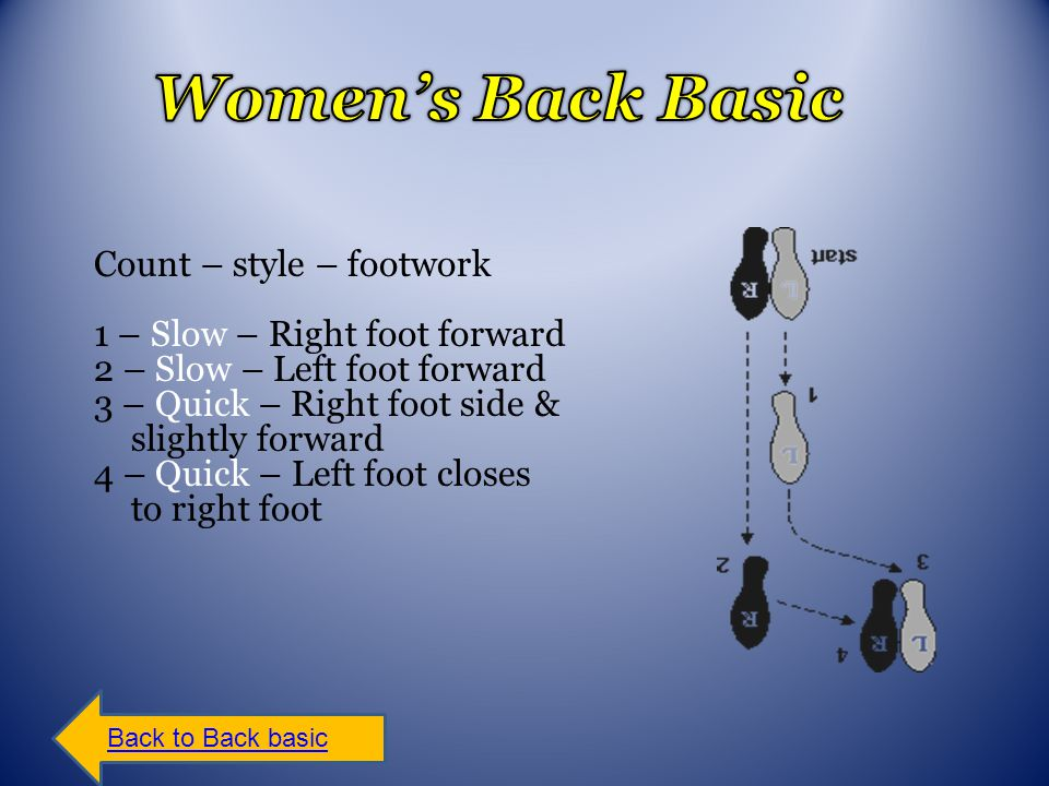 Count – style – footwork 1 – Slow – Right foot forward 2 – Slow – Left foot forward 3 – Quick – Right foot side & slightly forward 4 – Quick – Left foot closes to right foot Back to Back basic