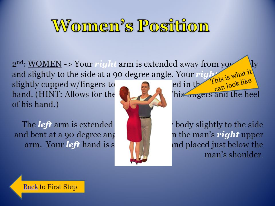 2 nd : WOMEN -> Your right arm is extended away from your body and slightly to the side at a 90 degree angle.