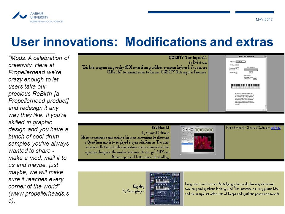 MAY 2013 User innovations: Modifications and extras Mods.