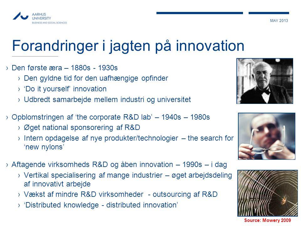 MAY 2013 Forandringer i jagten på innovation ›Den første æra – 1880s - 1930s ›Den gyldne tid for den uafhængige opfinder ›'Do it yourself' innovation
