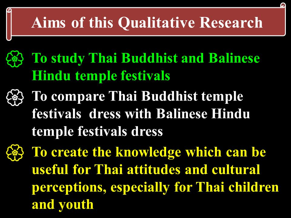 Aims of this Qualitative Research To study Thai Buddhist and Balinese Hindu temple festivals   To compare Thai Buddhist temple festivals dress with Balinese Hindu temple festivals dress  To create the knowledge which can be useful for Thai attitudes and cultural perceptions, especially for Thai children and youth