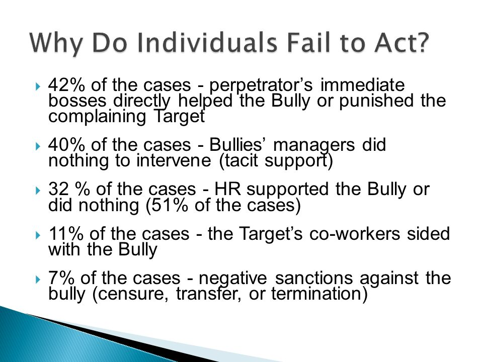  42% of the cases - perpetrator's immediate bosses directly helped the Bully or punished the complaining Target  40% of the cases - Bullies' manager