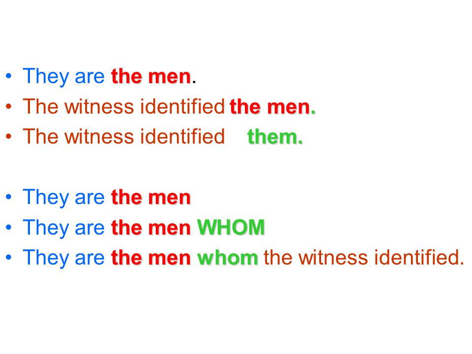 the menThey are the men. the men.The witness identified the men.