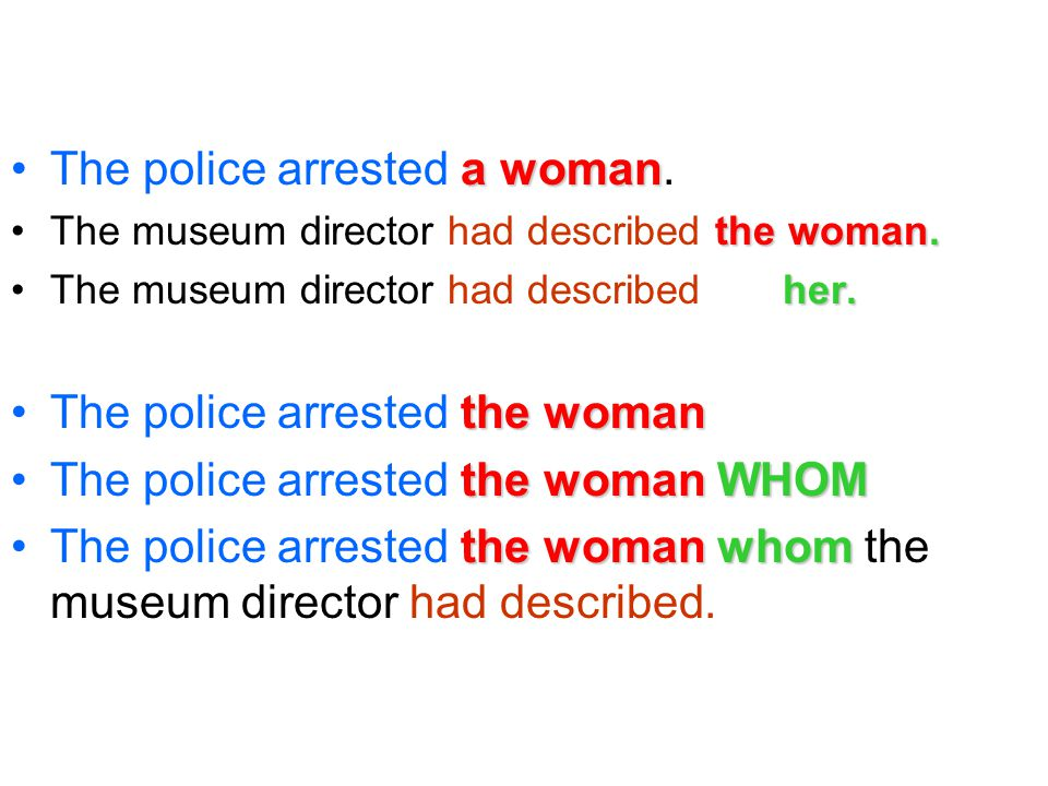 a womanThe police arrested a woman. the woman.The museum director had described the woman.