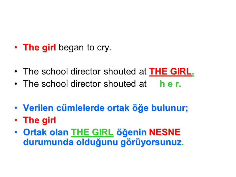The girlThe girl began to cry. THE GIRL.The school director shouted at THE GIRL.