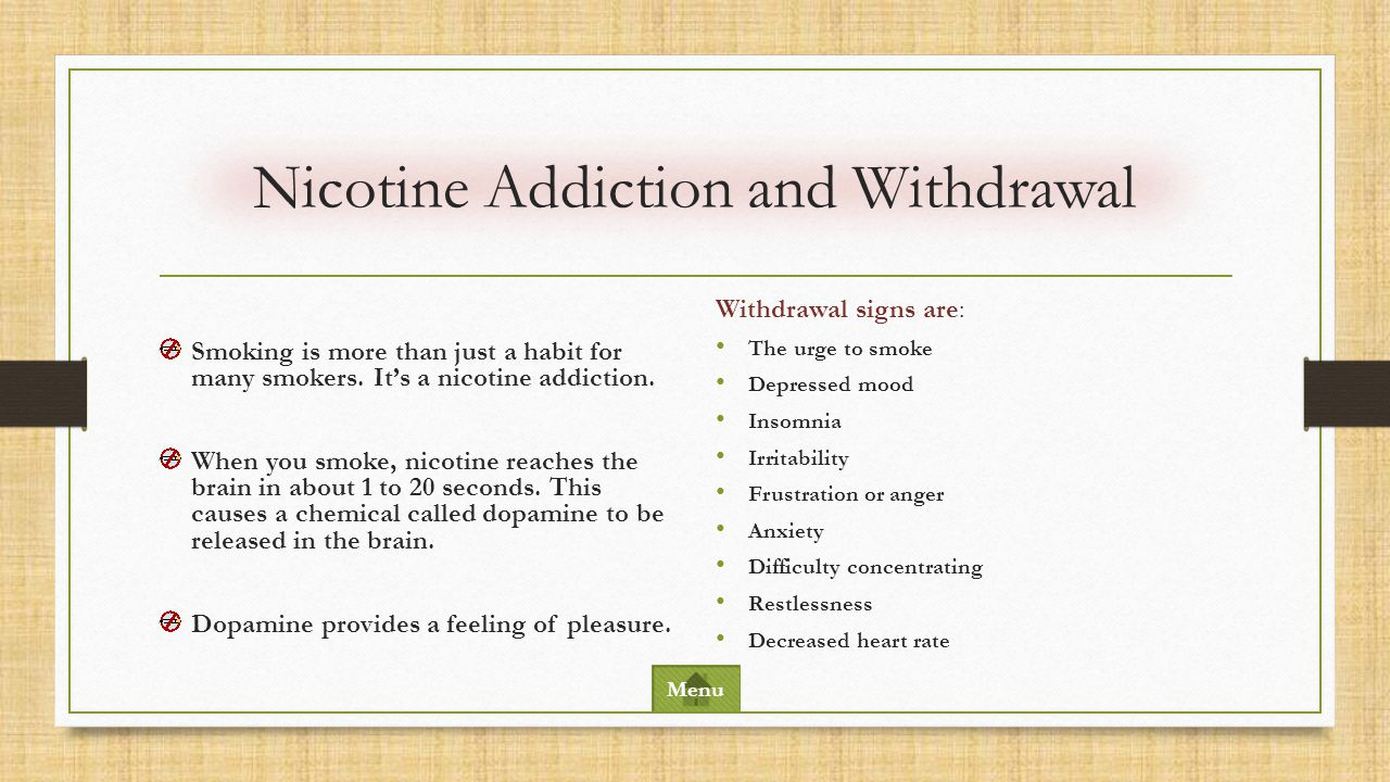 1. Nicotine addiction and withdrawal 2. Smoking statistics 3. Smoking and cardiovascular disease 4. Smoking and cancer 5. Other adverse health effects