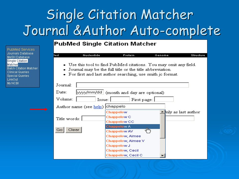 Single Citation Matcher Journal &Author Auto-complete