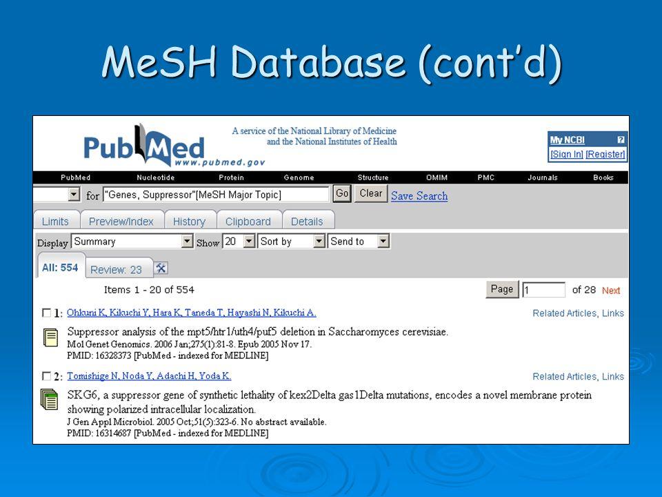 MeSH Database (cont'd)