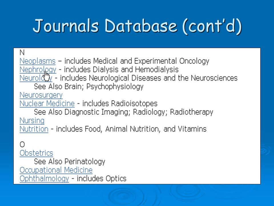 Journals Database (cont'd)