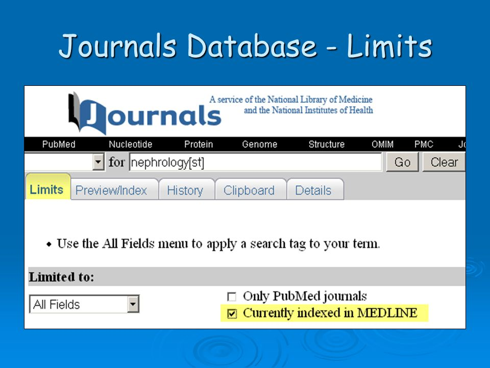 Journals Database - Limits