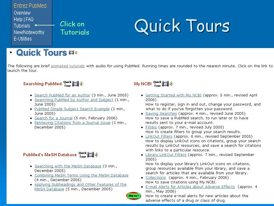 Quick Tours Quick Tours Click on Tutorials
