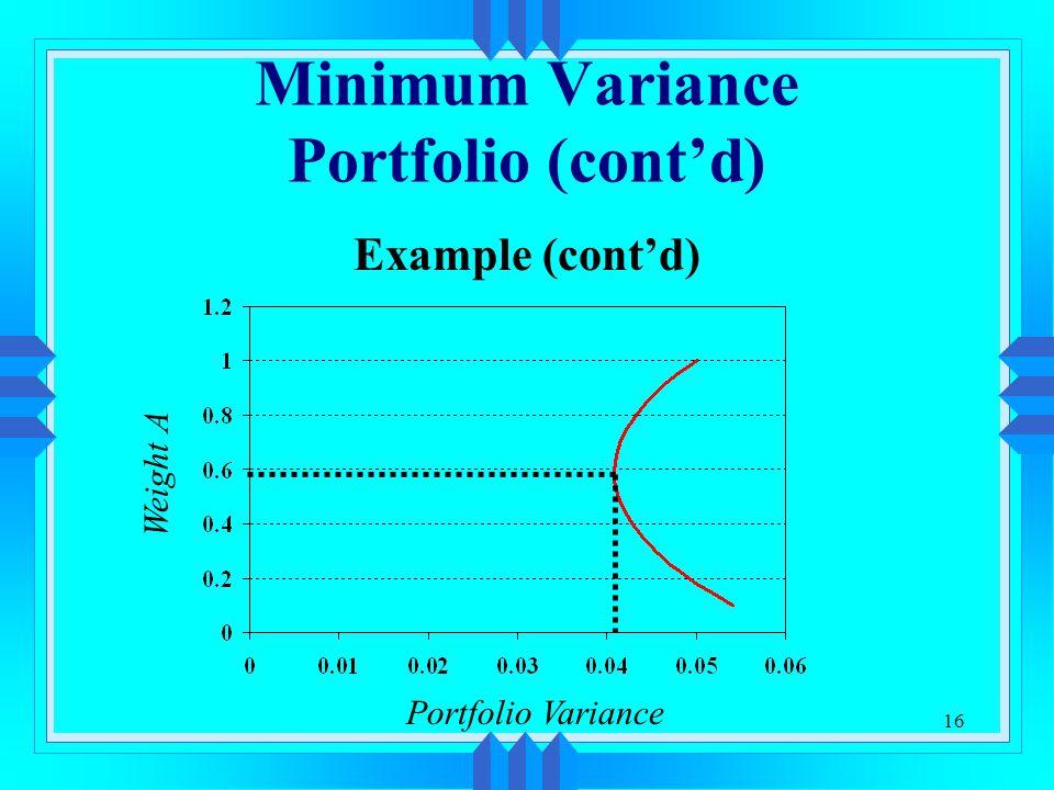 16 Minimum Variance Portfolio (cont'd) Example (cont'd) Weight A Portfolio Variance